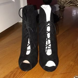 Black Lace Up Booties NWT